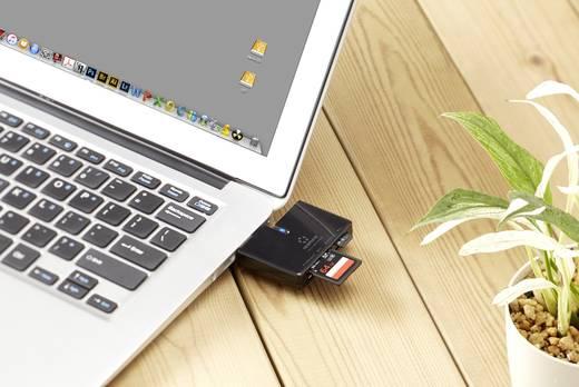 Külső memóriakártya olvasó és Hub USB 3.0, fekete, renkforce CR47e-HUB