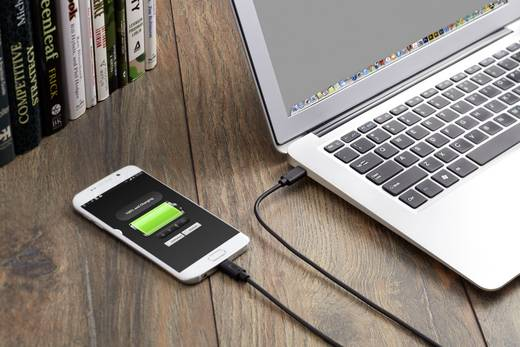 USB 2.0 Csatlakozókábel [1x USB-C dugó - 1x USB 2.0 dugó, mikro B típus] 1.50 m Fekete Aranyozatt érintkező Renkforce