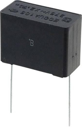 Fóliakondenzátor Radiális kivezetéssel 1 µF 275 V/AC 20 % 22.5 mm (H x Sz) 26 mm x 12 mm Panasonic ECQ-UAAF105M 1 db