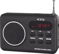 Asztali rádió, hordozható táskarádió USB és SD kártya lejátszással ICES IMPR-112 (IMPR-112 Black) ICES
