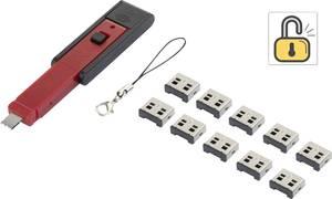 USB port blokkoló dugó, vakdugó, 10db-os készlet, ezüst, kiszedő szerszámmal, Renkforce rf-USBBlocker-01 RF-4463016 Renkforce