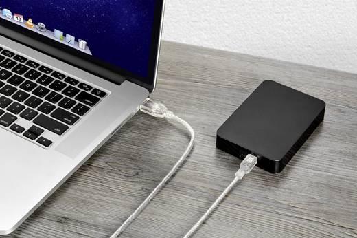 USB 2.0 csatlakozókábel, 1x USB 2.0 dugó A - 1x USB 2.0 dugó mini B, 1,8 m, átlátszó, aranyozott, renkforce