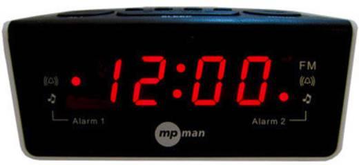 Digitális ébresztőóra, rádiós ébresztőóra LED-es kijelzővel mpman FR-A105, BLACK & WHITE