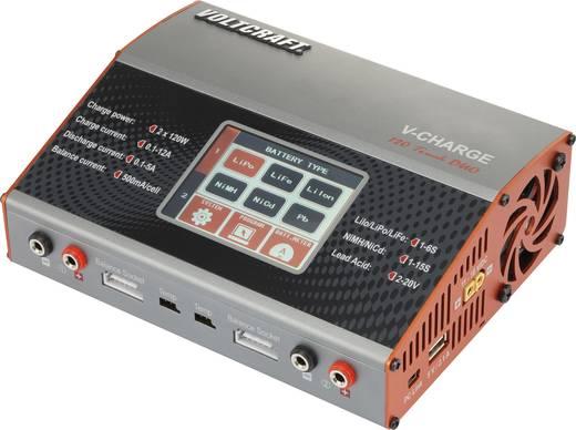 Multifunkciós modell akkutöltő 12 V/230 V 12 A LiPolimer/Lítiumion/LiFe/NiCd/NiMH/Ólom VOLTCRAFT V-Charge 120 Touch Duo