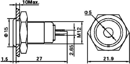 LED-es jelzőlámpa, vandálbiztos piros 12 V GQ12F-D/R/12V/N