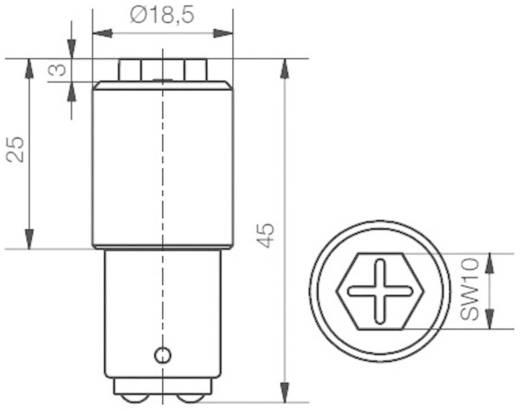 SiStar II LED lámpa 24-28 V BA15d, piros, Signal Construct MBRD151604