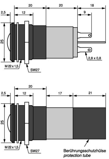 LED-es jelzőlámpa 230 V/AC, Ø 22 mm, kék, CML 195E2237M