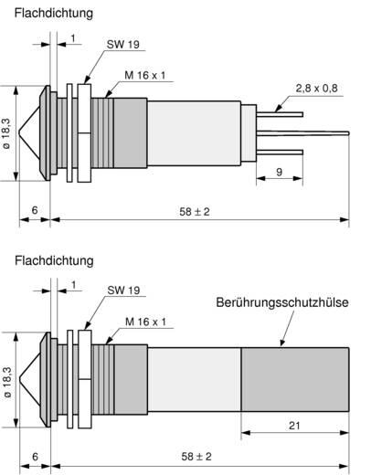 LED-es jelzőlámpa IP67 16 mm piros 230 VAC