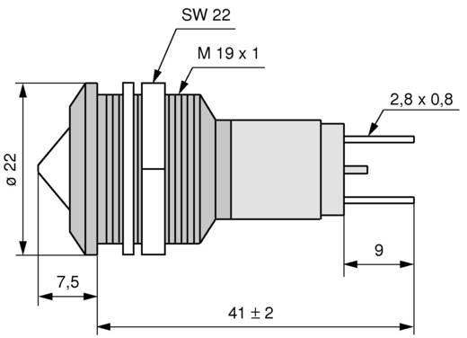 LED-es jelzőlámpa IP67 19 mm sárga 12 V