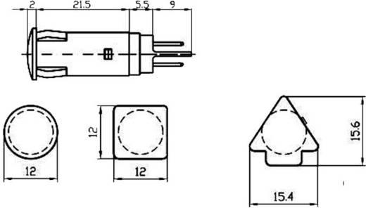Szimbólumos jelzőlámpa 230 V, Ø 10 mm, ultra zöld, négyzet, Signal Construct SKHU10728
