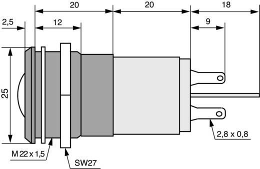 LED-es jelzőlámpa 12 V, Ø 22 mm, fehér, CML 195A125WMUC