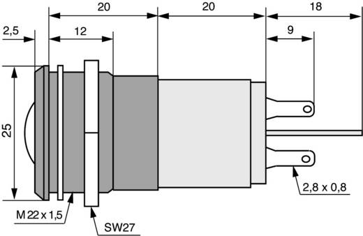 LED-es jelzőlámpa 24 V, Ø 22 mm, kék, CML 195A1357MUC