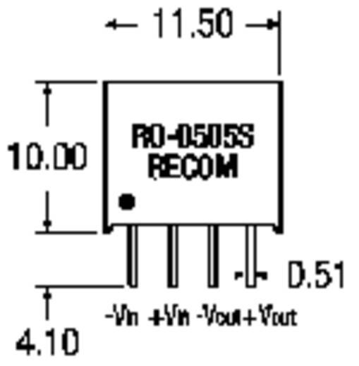 1 W-os DC/DC átalakító, RO sorozat, bemenet: 24 V/DC, kimenet: 5 V/DC 200 mA 1 W, Recom International RO-2405S/P
