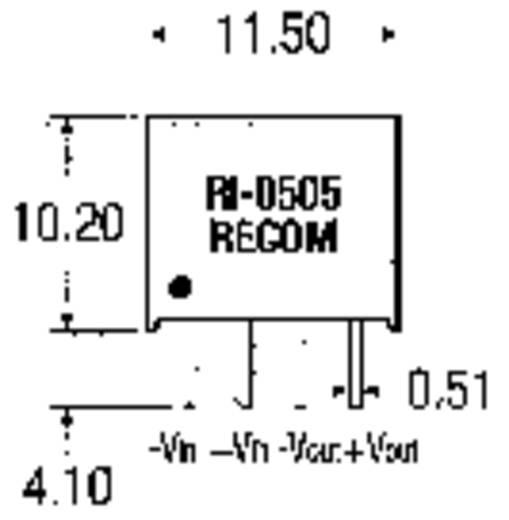 2 W-os DC/DC átalakító, RI sorozat, bemenet: 12 V/DC, kimenet: 12 V/DC 168 mA 2 W, Recom International RI-1212S