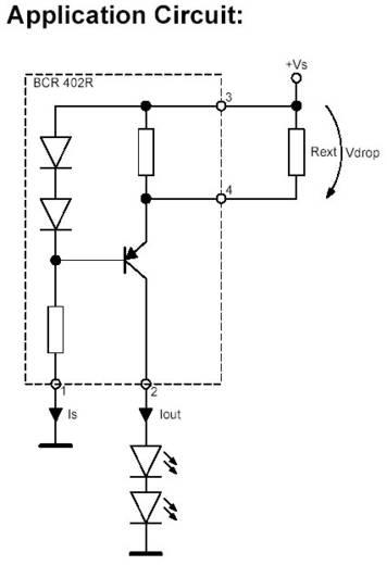 INFINION BCR 402 R LED meghajtó, SOT 143 R