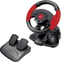 PC játék kormány és pedál, PC, PlayStation, fekete/piros, Esperanza EG103 USB (EG103) Esperanza