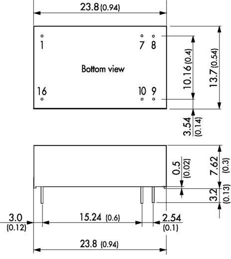 DC/DC átalakító, 2 W, DIL-16 , bemenet: 9 - 18 V/DC, kimenet: 5 V/DC 400 mA 2 W, TracoPower TEL 2-1211
