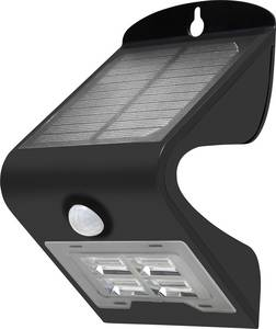 Napelemes kültéri fali lámpa mozgásérzékelővel, 2W, fekete, DioDor 2W-B (DIO-Solar 2W-B) DioDor