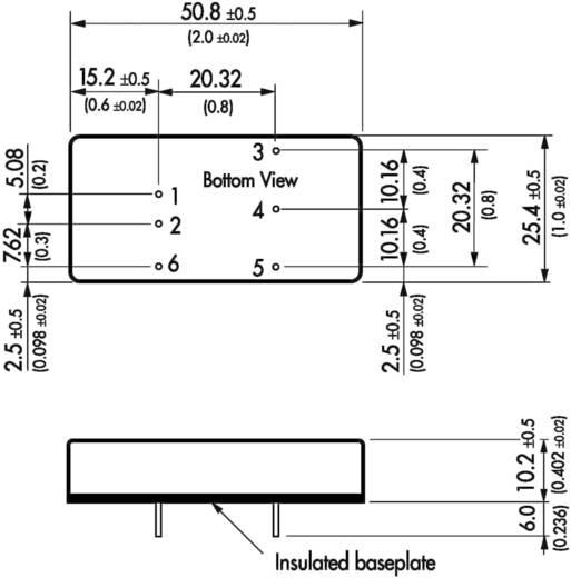 DC/DC átalakító, 10 W, bemeneti szűrő, bemenet: 18 - 36 V/DC, kimenet: ±5 V/DC ±1000 mA 10 W, TracoPower TEN 10-2421