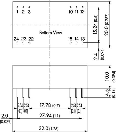 DC/DC átalakító, 3 W, DIL-24, bemenet: 18 - 36 V/DC, kimenet: ±12 V/DC ±125 mA 3 W, TracoPower TEL 3-2422