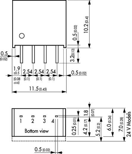 DC/DC átalakító, TME sorozat, 1 Watt, SIL-4, bemenet: (±10 %) 24 V/DC, kimenet: 15 V/DC 65 mA 1 W, TracoPower TME 2415S
