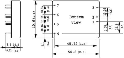 DC/DC átalakító, TEN 20 sorozat, bemenet: 9 - 36 V/DC, kimenet: ±12 V/DC max. ±835 mA 20 W, TracoPower TEN 20-2422WI