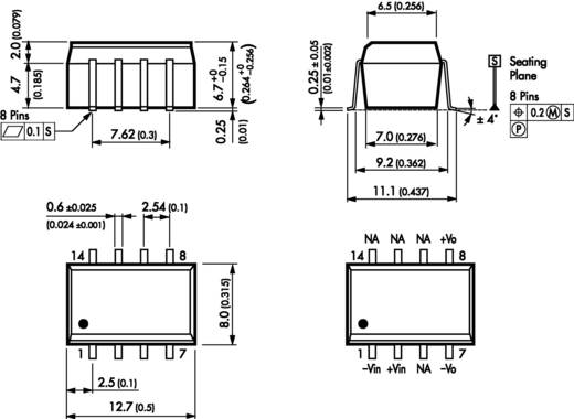 DC/DC átalakító, TSM sorozat, 1 Watt, bemenet: (±10 %) 12 V/DC, kimenet: 12 V/DC 80 mA 1 W, TracoPower TSM 1212S