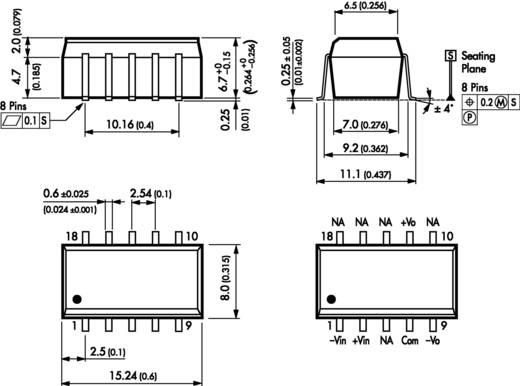 DC/DC átalakító, TSM sorozat, 1 Watt, bemenet: (±10 %) 12 V/DC, kimenet: ±12 V/DC ±40 mA 1 W, TracoPower TSM 1212D