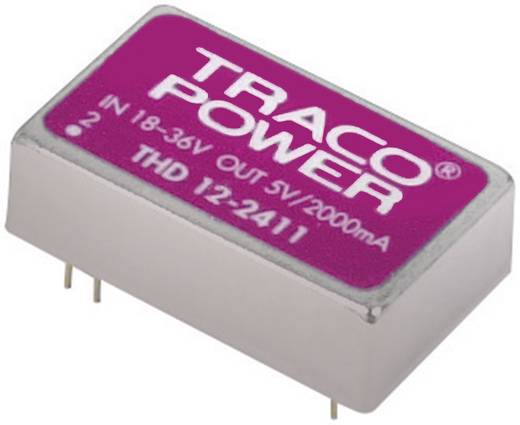 DC/DC átalakító, bemenet:18 - 36 V/DC, kimenet: 5,1 V/DC max, 2,4 A 12 W, TracoPower THD 12-2411