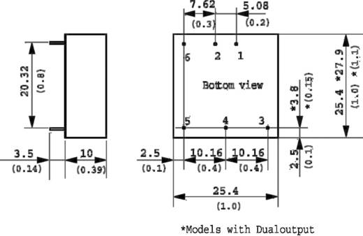 DC/DC átalakító, bemenet:36 - 75 V/DC, kimenet: ±12 V/DC max, ±600 mA 15 W, TracoPower THD 15-4822