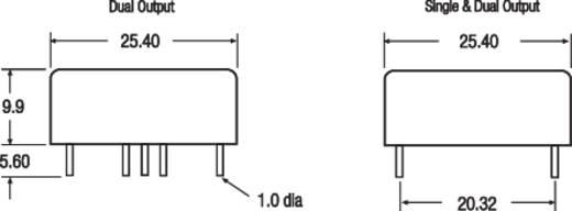 15 W-os DC/DC átalakító, RP15 sorozat, bemenet: 9 - 36 V, kimenet: 15 V 1000 mA 15 W, Recom International RP15-2415SAW