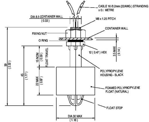Úszókapcsoló 250 V/AC 1 A 1 záró/1 nyitó, TE Connectivity Sensor VCS-02 IP65
