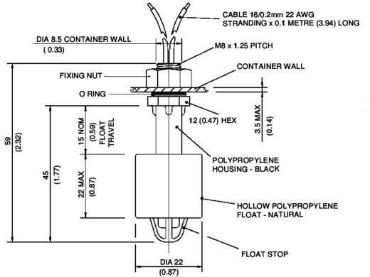 Úszókapcsoló 250 V/AC 1 A 1 záró/1 nyitó, TE Connectivity Sensor VCS-04 IP65