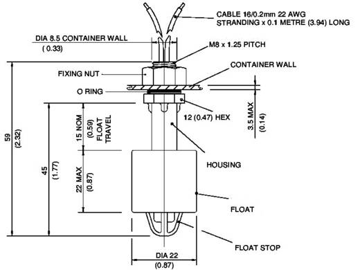 Úszókapcsoló 1 A/250 V/AC, Gentech VCS-08