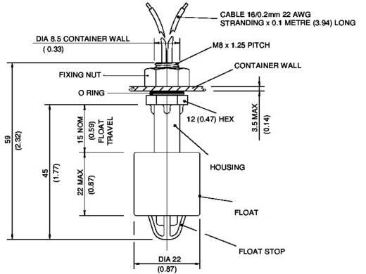 Úszókapcsoló 250 V/AC 1 A 1 záró/1 nyitó, TE Connectivity Sensor VCS-08 IP65