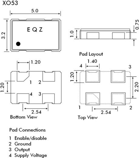 SMD kvarc oszcillátor, 50,000000 MHz, méret: 5 x 3,2 x 1 mm, EuroQuartz 50,000MHZ XO53050UITA