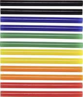 Forró ragasztó rúd, Ø 7 x 100 mm, színes (piros, kék, zöld, sárga), 12 db, Toolcraft TOOLCRAFT