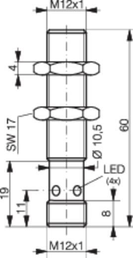 Induktív közelítés kapcsoló (-érzékelő) M12, kapcsolási távolság: 4 mm, Contrinex DW-AS-623-M12