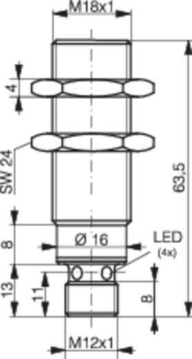Induktív közelítés kapcsoló (-érzékelő) M18, kapcsolási távolság: 8 mm, Contrinex DW-AS-623-M18-002