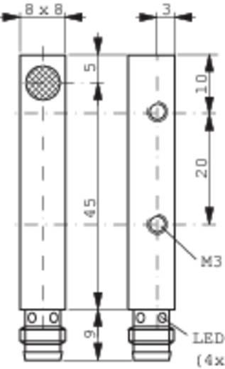 Induktív közelítés kapcsoló (-érzékelő) 8 x 8 mm, kapcsolási távolság: 3 mm, Contrinex DW-AS-503-C8