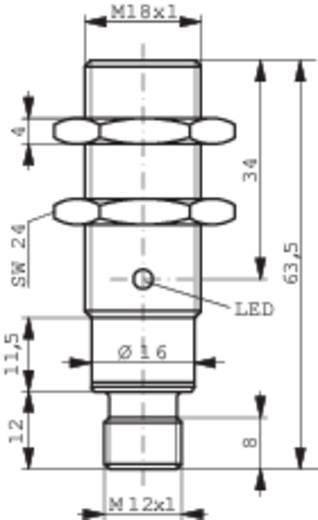 Induktív közelítés kapcsoló (-érzékelő) M18, kapcsolási távolság: 12 mm, Contrinex DW-AS-503-M18-002