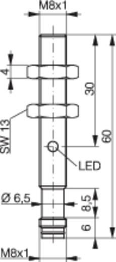 Induktív közelítés kapcsoló (-érzékelő) M8, kapcsolási távolság: 4 mm, Contrinex DW-AS-523-M8-001