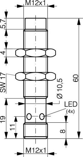 Induktív közelítés kapcsoló (-érzékelő) M12, kapcsolási távolság: 4 mm, Contrinex DW-AS-613-M12