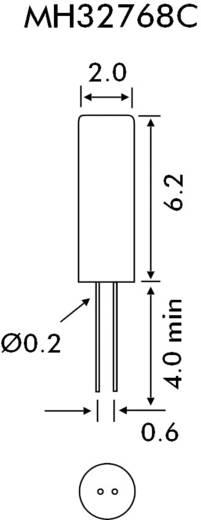 Órakvarc, kristály, frekvencia: 32,768000 kHz, kivitel: MH32768C, cilinder (Ø x Ma) 2 mm x 6,2 mm, EuroQuartz MH32768C