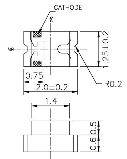 SMD LED 45 mcd, 140°, 20 mA, 3,5 V, kék, 0805, Everlight 17-21/BHC-AN1P2/3T