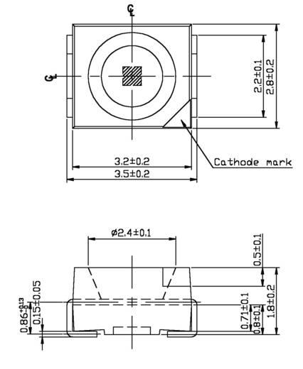 Ultrafényes LED PLCC2 225 mcd, 120°, 20 mA, 3,5 V, kék, Everlight 67-21SUBC/S400-A6/TR8