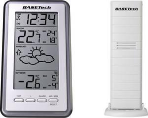 Időjárás állomás, vezeték nélküli beltéri kültéri hőmérő, rádióvezérelt DCF órával Basetech WS-9130-IT Basetech