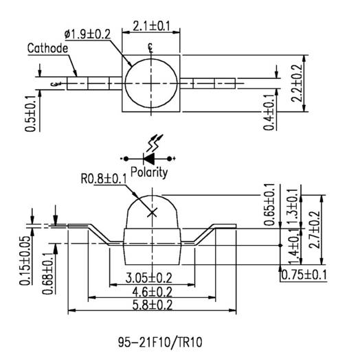Szubminiatűr ultrafényes LED 600 mcd, 25°, 20 mA, 3,5 V, 1,9 mm, piros, Everlight 95-21SURC/S530-A3/TR10