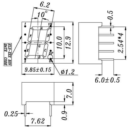 7 szegmenses kijelző, szám magasság: 10 mm, 2900 µcd, piros, Everlight S431SURWA/S530-A3