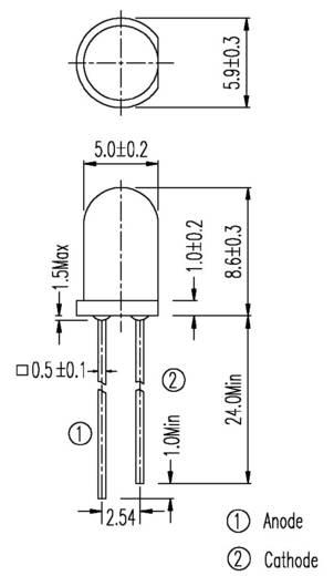 Fotódióda Everlight PD333-3C/HO/L2 Ház típus 5 mm Spektrális sávszélesség 400 - 1200 nm